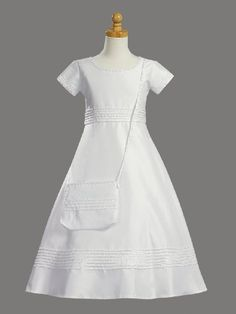 Amazon.com: Classic White A-Line Shantung Communion Dress with Pearl Accents and Purse - Size 6: Clothing
