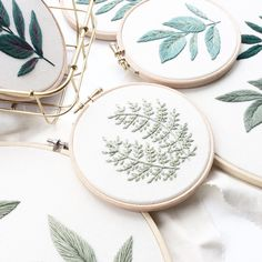 Sew & Saunders' Embroidery Pays Homage to Leaves Embroidery Needles, Modern Embroidery, Embroidery Hoop Art, Floral Embroidery, Cross Stitch Embroidery, Embroidery Patterns, Diy Inspiration, Handicraft, Needlework