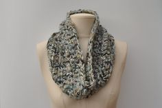 Chunky crocheted cowl - green/aqua/silver mix by DaisyElizaDesigns on Etsy