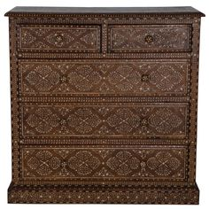 Syrian Style Chest | From a unique collection of antique and modern commodes and chests of drawers at https://www.1stdibs.com/furniture/storage-case-pieces/commodes-chests-of-drawers/