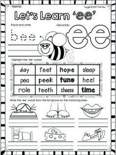 Ee Worksheets For Kindergarten