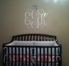 Wooden wall monogram for nursery