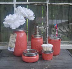 Coral, Mason Jar, soap dispenser, Bath Set, Talona, Bath, Mason Jar, Accessories,  Home, Beach, House, Cottage, Cabin Decor, on Etsy, $58.00
