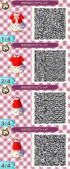 Animal crossing QR codes cute red dress.
