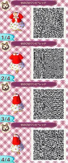 Animal crossing QR codes cute red dress.