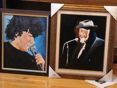 "Paintings by  RENO®. Portrait Series, ""Robert Charlebois"" and ""Raymond Lévesque"", two Quebec singers, authors, composers, acrylics on canvas, both 16"" x 20"", framed, both set aside and offered to local school for fundraising projects. -Quebec, Canada (2012) -  © 2013"