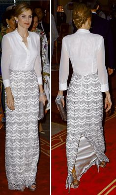 For dinner, Queen Letizia wore a semi-sheer white silk georgette blouse with an elegant silver lace full-length skirt by Felipe Varela.