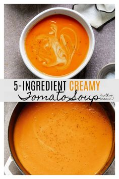 Creamy Carrot and Tomato Soup - Cooking for Keeps Creamy Tomato Soup Recipe: With NO cream! So luxurious, so quick and easy!<br> Gosh, this Creamy Tomato Soup Recipe is so so delicious and so simple! Plus, it only takes 30 minutes to throw together. Tomato Soup Recipes, Easy Soup Recipes, Gourmet Recipes, Cooking Recipes, Healthy Recipes, Panera Tomato Soup Recipe, Cream Soup Recipes, Healthy Soup, Tomato Bisque Soup