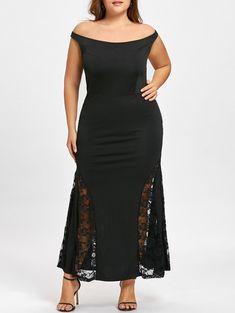 abb4c702bf2  13.77--Plus Size Off Shoulder Mermaid Maxi Dress - BLACK 5XL Mobile Cheap  Dresses