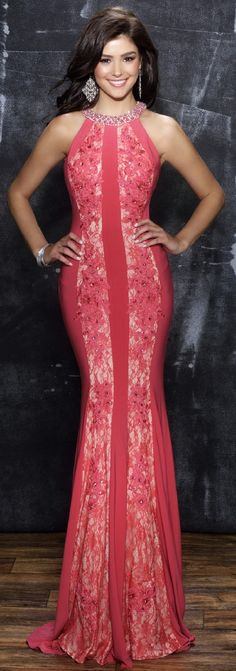 553fd9f6ea Prom Dresses Evening Dresses by NINA CANACCIanc1298Jewel beaded neckline  jersey dress with front lace panels and keyhole open back.
