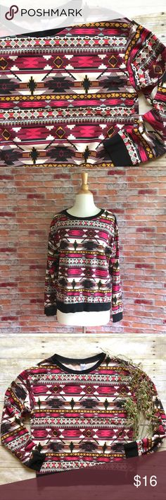 "H&M Aztec print crewneck pullover This black banded pullover is both casual and cool. Pair with jean shorts or black skinnies. Like new. Cotton. 23.5""L 20.5"" bust laying flat. Size medium. *Mom jean shorts are also for sale in my closet, buy the look and save! H&M Tops"