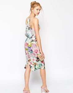 Image 2 ofASOS Digital Print Pencil Drape Back Dress