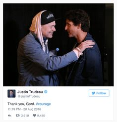 Tragically Hip's Gord Downie calls out to Trudeau during tour finale: PM discusses why the band is uniquely Canadian (CBC News 21 August Canadian Law, Canadian Things, Justin Trudeau, Favorite Son, My Favorite Music, Your Music, Jukebox, Cool Bands, Singer