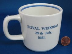 Prince Charles Princess Diana Royal Wedding Blue Transferware Mug Adams 1981