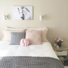 Scandi, Scandinavian, feminine, pretty, minimal, minimalist, flowers, peony, pink, white and grey, bedroom, art, horse, ivoryandnoir instagram