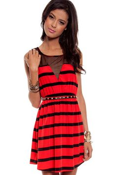 Lucky Stripes Dress in Red at www.tobi.com