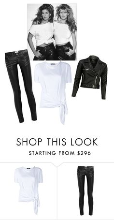 """white tee w black leather"" by im-karla-with-a-k ❤ liked on Polyvore featuring Dolce&Gabbana and Yves Saint Laurent"