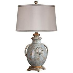 """Uttermost Cancello Distressed Blue Glaze Table Lamp -/ @ 600 for pair / Textured ceramic construction. • Distressed light blue and tan glazes. • Rust undertones. • Silver leaf details. • Silken, off-white linen hardback shade with silver double trim. • Takes one 150 watt 3-way bulb (not included). • 29"""" high. • Shade is 17"""" wide."""