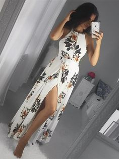 White Side Split Back Lace-up Random Floral Print Sleeveless Dress Source by stylishbeautifulwoman Dresses Dress Outfits, Casual Dresses, Dress Up, Prom Dresses, Summer Dresses, Sleeveless Dresses, Skater Outfits, Slit Dress, Emo Outfits