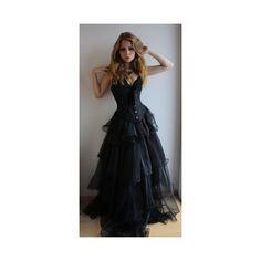 Black Wedding Dresses ❤ liked on Polyvore featuring dresses and wedding dresses