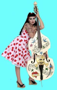 Patricia Day of the HorrorPops. Bass player and tattoo love goddess. Rockabilly Music, Rockabilly Baby, Rockabilly Fashion, Retro Fashion, Rockabilly Style, Patricia Day, Rock And Roll, Guitar Girl, Gothabilly