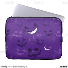 Spooky Faces Computer Sleeve #halloween #ghost #spooky #creepy #smile