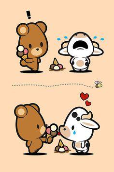 Farm Babies / #kawaii #cute #love #quotes #illustration #baby #farm #babies #bear #cow