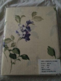 The Company Store Standard Pillowcase Cream and Purple flowers 100% Cotton QH66 #TheCompanyStore