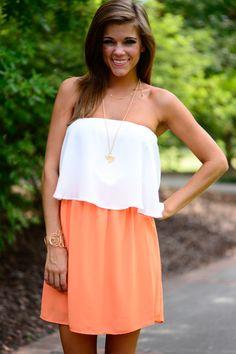 Sassy Snap Dress, Orange/White