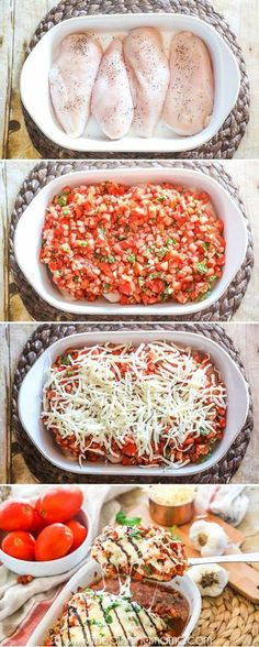 How to make Bruschetta Chicken Bake - This is SO DELICIOUS! #chicken #dinner #chickenbake #tomatoes #recipes
