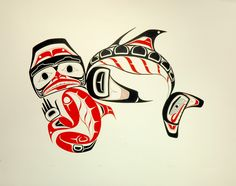 Dogfish and Spirit (1978) by Norman Tait, Nisga'a artist. In the native tradition, all animals have their own intelligent spirit. Before a hunt or fishing expedition, the spirit of the animal or fish would be reassured that the flesh about to be taken would not be misused or wasted. Then he was asked to be generous to the hunter and his family.