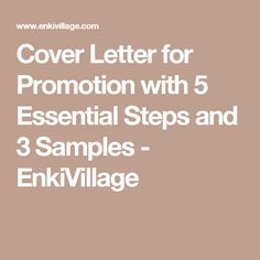 Cover Letter for Promotion with 5 Essential Steps and 3 Samples - EnkiVillage