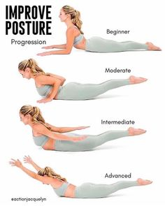 Gym Workout, Fitness, Yoga And Sports Outfits Better Posture Exercises, Posture Stretches, Exercise For Posture, Best Stretching Exercises, Posture Correction Exercises, Scoliosis Exercises, Yoga Exercises, Yoga Workouts, Fitness Exercises