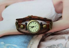 Brown Leather wrist watchVintage watchLady by BeautifulShow, $16.99