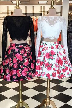 Charming Two Pieces Long Sleeves Bateau Floral Homecoming Dress