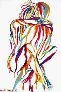Picture of the surreal painting Right here in my arms 2.0 by Canadian artist Shane Turner. Painting is of surreal bodies embracing in love. Figures are made out of dripping colorful paint on a white background.