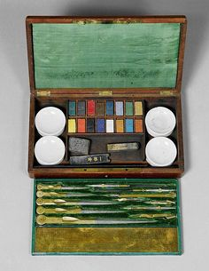 A DRAWING SET WITH WATER-COLOURS, France, 19th c. - by Koller Auctions