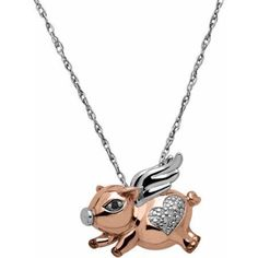Diamond Accent Rose Gold Over Silver & Sterling Silver Flying Pig Pendant Necklace, Women's, Size: White Rose Gold Heart Necklace, Sterling Silver Heart Necklace, Silver Pendant Necklace, Silver Hoop Earrings, Sterling Silver Pendants, Heart Necklaces, Silver Charms, Gold Pendant, White Pendants