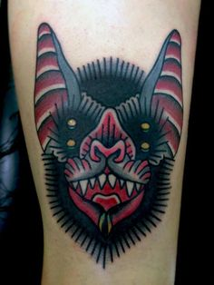 chuli gonzález bat traditional tattoo. One of two of my fav animals.  I like stuff w/multiple eyes.