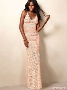 This maxi dress is the ultimate statement in subtle sexiness, with its deep v-neck, racerback and figure-skimming silhouette. Head-to-toe crochet gives it an airy vibe that's easy to dress up or down. Victoria Secret Outfits, Victoria Dress, Crochet Blouse, Knit Dress, Crochet Tops, Dress Outfits, Casual Dresses, Victoria's Secret, Beach Dresses