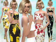 The Sims Resource: Floral Printed Outfit Set by Fritzie.Lein • Sims 4 Downloads