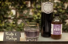 Fruits and Flowers  1 1/4 oz. gin  1/4 oz. St. Germain  1/2 oz. Creme de Violette  1/2 oz. Royal Rose Lavender-Lemon Syrup  1/2 oz. fresh lemon juice    Shake over ice, and serve up in a rocks glass. Top with a splash of soda, and garnish with a sprig of lavender.