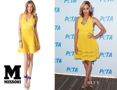 Tia Mowry's M Missoni V Neck Yellow Dress