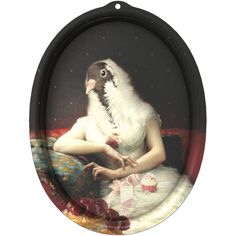 ibride Galerie De Portraits - Oval Tray - Rosita ($85) ❤ liked on Polyvore featuring home, home decor, small item storage, multi, ibride trays, bird home decor, ibride, oval tray and traditional home decor