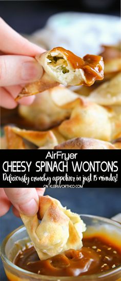 game day food Cheesy Spinach Wontons made quick & easy in about 15 minutes. This simple air fryer recipe makes this delicious appetizer effortless for game day, holidays & parties! Wonton Recipes, Crockpot Recipes, Cooking Recipes, Cooking Gadgets, Vegetarian Recipes, Air Fryer Dinner Recipes, Air Fryer Recipes Easy, Easy Recipes, Amazing Recipes