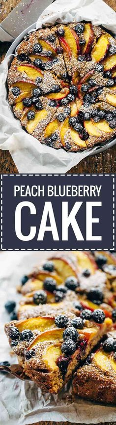 Blueberry Peach Cake recipe - simple ingredients, whole wheat, no refined sugar, and STUNNING presentation. Perfect for summer breakfasts or brunches! | pinchofyum.com