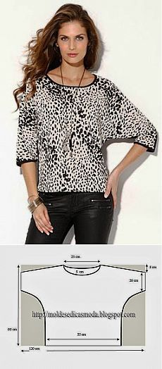 Medium length wing sleeves shirt --- Moldes Moda por Medida: CAMISOLA DESCONTRAIDA: