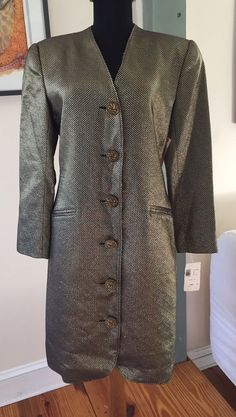 New $189 Albert Nipon Loehmanns Black Gold Lame Tailored Long Blazer Jacket - 8 #AlbertNipon #Blazer