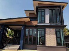 บ้าน 2 ชั้น สไตล์โมเดิร์น ขนาด 3 ห้องนอน โทนสีเท่าเข้ม ราคา 2.2 ล้าน - บ้านถูกดี Beautiful House Plans, Beautiful Homes, Modern House Philippines, 2 Storey House, Thai House, Loft Interior Design, Home Modern, Loft Interiors, Mansions