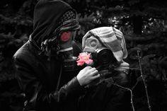 #gasmask #blacknwhite #rose #love #tattoo #idea